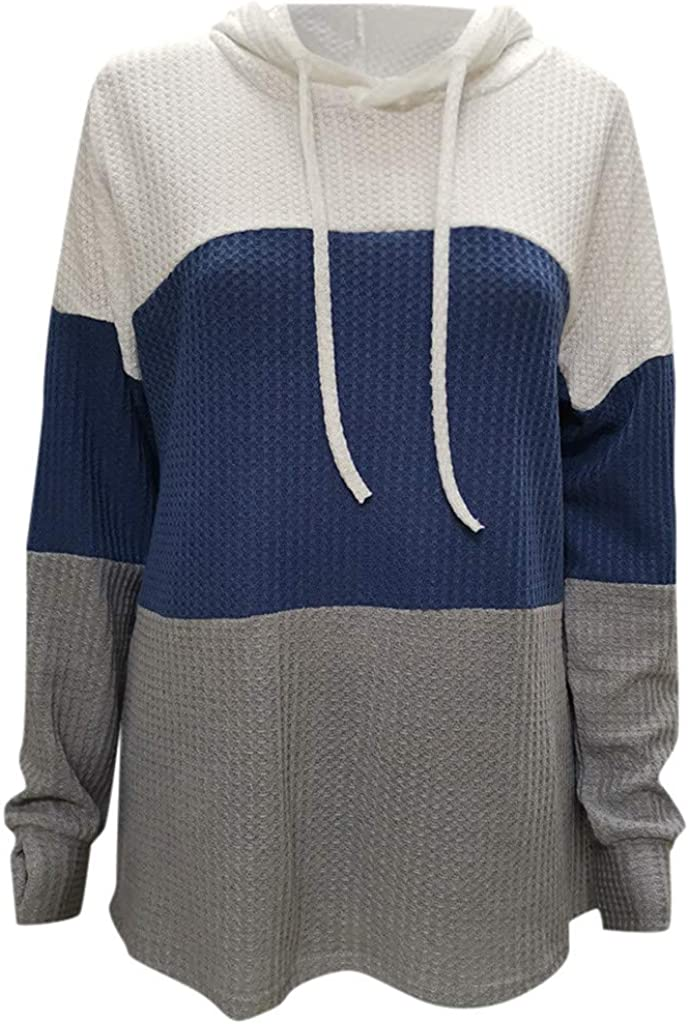 POTO Sweatshirt Tops for Women Casual Color Block Pullover Shirts and Blouse Long Sleeve Pullover Sweater
