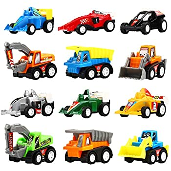 Yeonha Toys Pull Back Vehicles 12 Pack Mini Assorted Construction Vehicles & Race Car Toy Vehicles Truck Mini Car Toy for Kids Toddlers Boys Child Pull Back & Go Car Toy Play Set