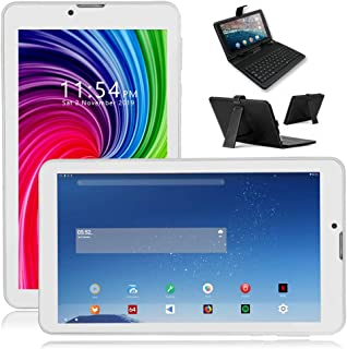 Indigi 4G LTE GSM Unlocked Android Pie 7-inch TabletPC & Smartphone [Quad-Core + DUALSIM + 2GB RAM/16GB Storage] (Frost White) + Keyboard Case