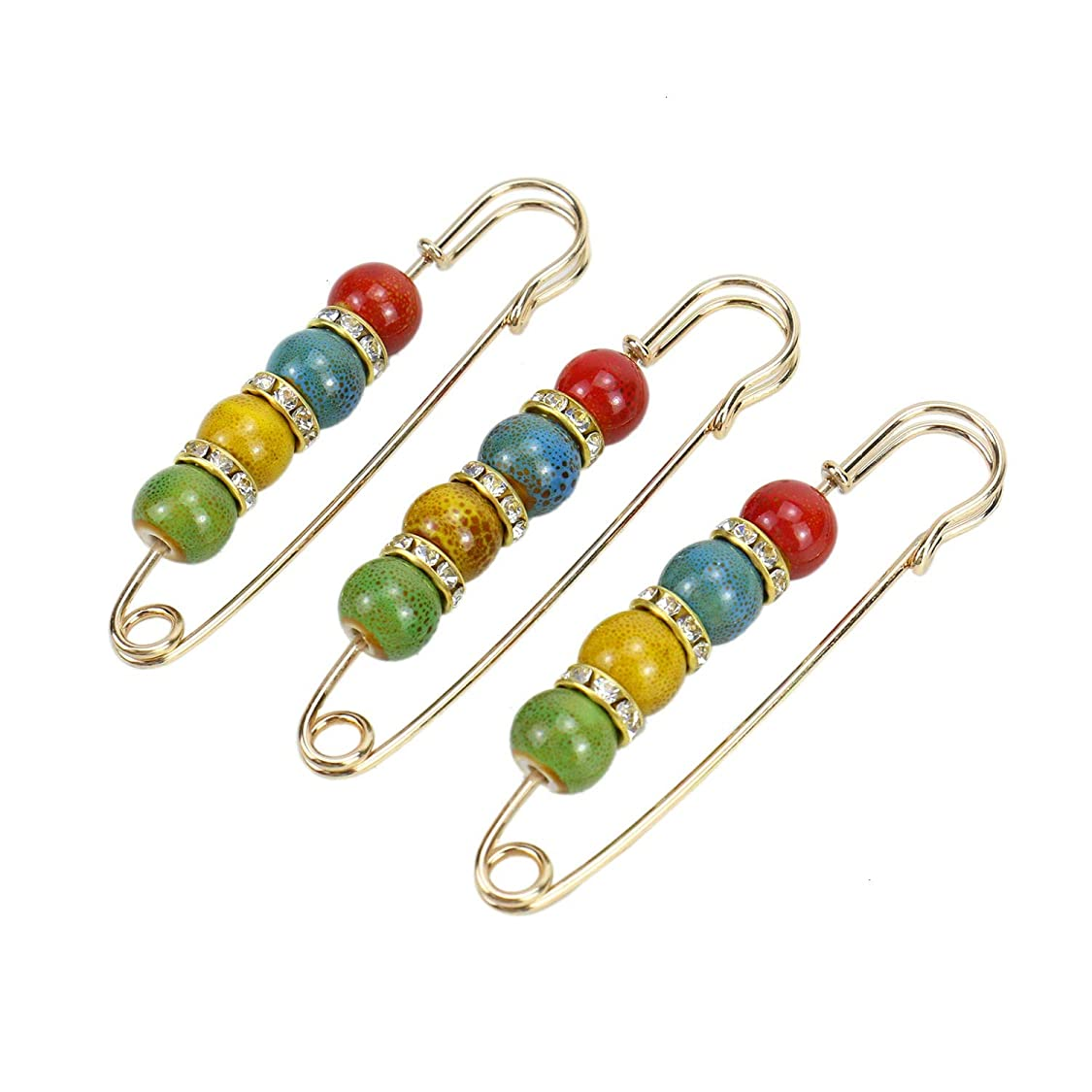 Monrocco 3 Pieces Brooches Safety Pins Creative Colorful Ceramics Beads Pins Cardigan Sweater Pins Accessories zo67211935098611