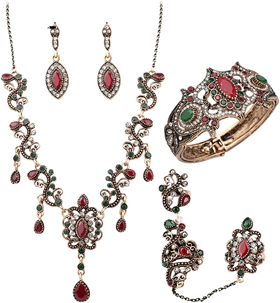 SONTONXON 4Pcs Turkey Jewelry Sets Vintage Look Red Necklace Earrings Set Color Antique Gold Unique Crystal Love Gift for Women