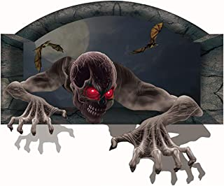 Coxeer Floor Decal for Room Halloween Floor Sticker Horrible Skeleton Head Wall Decal