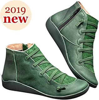 2019 New Women's Arch Support Boots with Side Zipper Vintage Leather Ankle Boots Comfortable Damping Shoes Flat Heel Booties