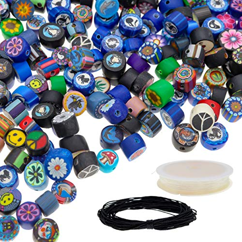 Fun-Weevz 350 PCS Polymer Clay Beads for Jewelry Making Kit for Adults, 8mm & 9mm Crafts Beads Kit with Spool of 0.8mm Elastic Cord, 10m Black Wax Cord, DIY Jewelry Making Supplies Craft Kit
