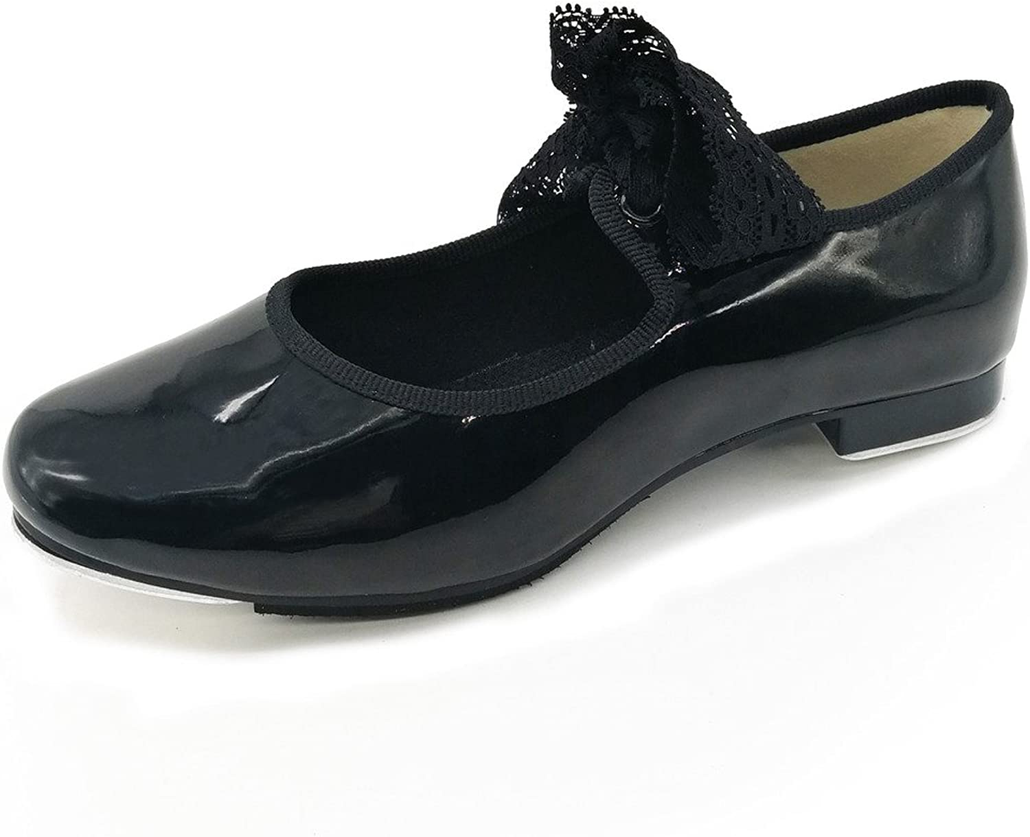 Pierides Little Kids Girls Tap shoes with 1.2  Heel Black
