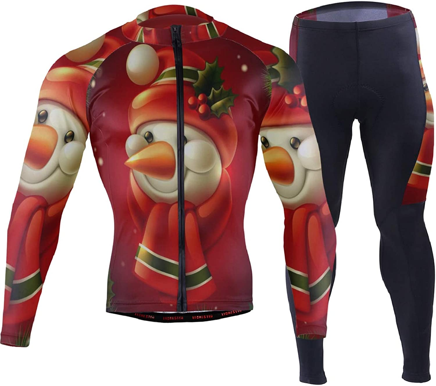 Christmas Snowman Tree Mens Cycling Jersey Suit Full Sleeve Road Riding Shirts Britches Clothing Outfit