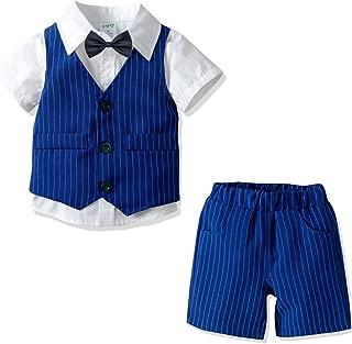Boys Suits Set Jacket + Shirt + Bow Tie +Suspenders Pants Little Boy Formal Dress Suit 5 Piece Winter Clothes Outfit Set