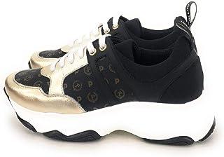 Pollini Sneaker Donna in Stampa Heritage (Colori:Nero-Bronzo, Nero-Oro),Linguetta Posteriore con Logo Pollini.Chiusura Sne...