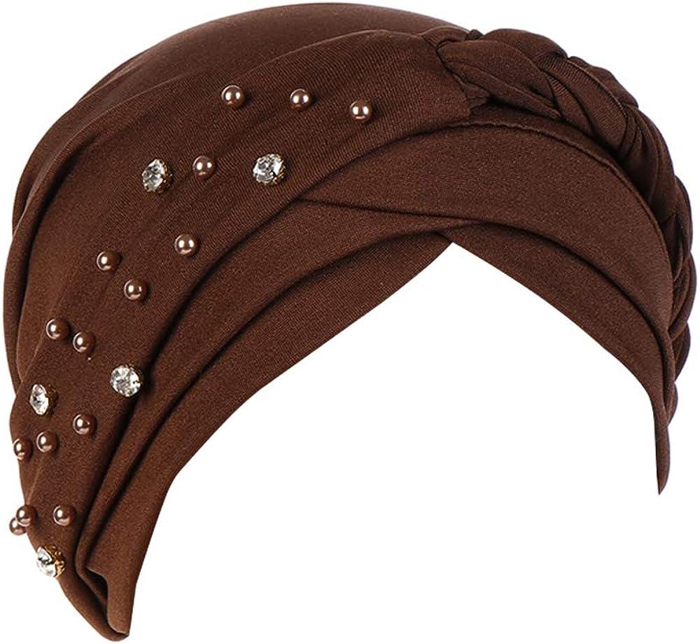 beauty YFJH Women Hijab Beading Pre-Tied Twisted Braid Turban Hat Head Scarf Cancer Chemo Beanies Headwear Headwrap Cap