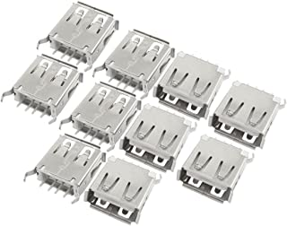 USB Type A Female Jack 180 Degree Crooked Leg PCB Socket Connector 10 pcs