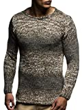 LEIF NELSON Men's Knitted Pullover LN20717; size M, Brown