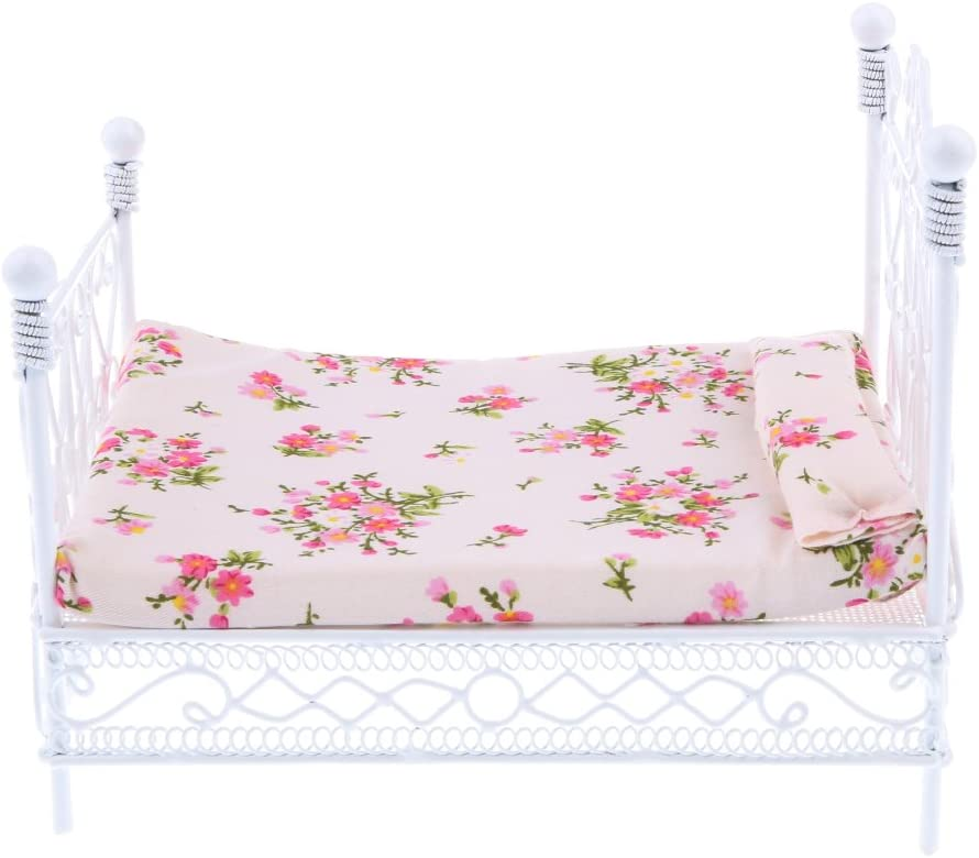 MonkeyJack 1:12 Metal Genuine Double Bed with Animer and price revision Do Printed Flower Mattress