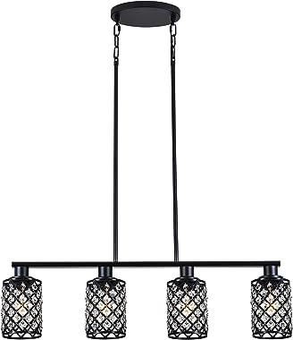 KPIOK Dining Room Light Fixture, 4-Light Kitchen Island Lighting, Black Pendant Lighting for Kitchen Island Kitchen Table Liv