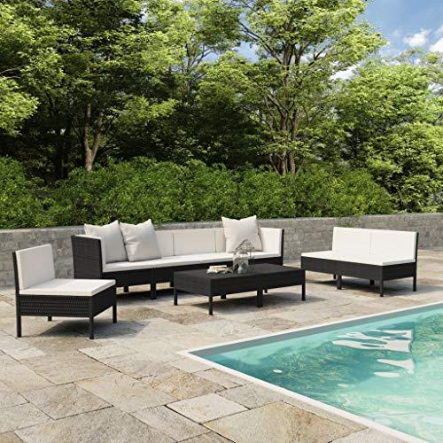 vidaXL Set de Muebles de Jardín 9 Piezas y Cojines Butaca Asiento Exterior Patio Elástica Estable Duradera Sofá Salón Ratán Sintético Negro
