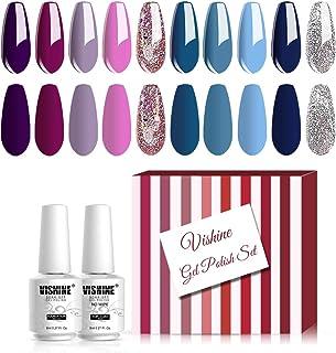 Vishine 12Pcs Pretty Blue Purple Glitter Colors Gel Nail Polish Set, Base Top Coats Soak Off UV LED Varnish Manicure Salon...