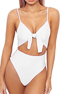 0ce4bee0295 LEISUP Womens Spaghetti Strap Tie Knot Front Cutout High Cut One Piece  Swimsuit