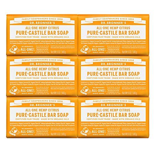 Dr. Bronner Magic Soaps Pure-Kastilien Seife, All-One Hemp Citrus Orange 5-Unzen-Barren (Pack of 6)