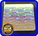 128 etichette olografiche con numero di serie, adesivo 18 x 18 mm
