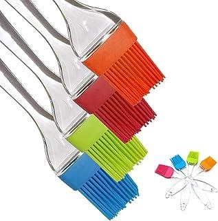 iNeibo Pinceau Cuisine - 4 Pinceaux Pâtisserie pour Badigeonner Multicolore en Silicone 100% Alimentaire résistant à la Ch...