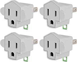 3-2 Prong Adapters Grounding Adapter - JACKYLED 3-Prong to 2-Prong Adapter Converter Fireproof Material 200℃ Resistant Heavy Duty Wall Outlets Plugs for Household Appliances Industrial- 4 pack