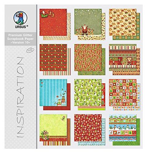 Ursus 71660099 - Premium Glitter Scrapbook paper Block 10, ca. 30,5 x 30,5 cm, 12 Blatt sortiert in 12 Motiven