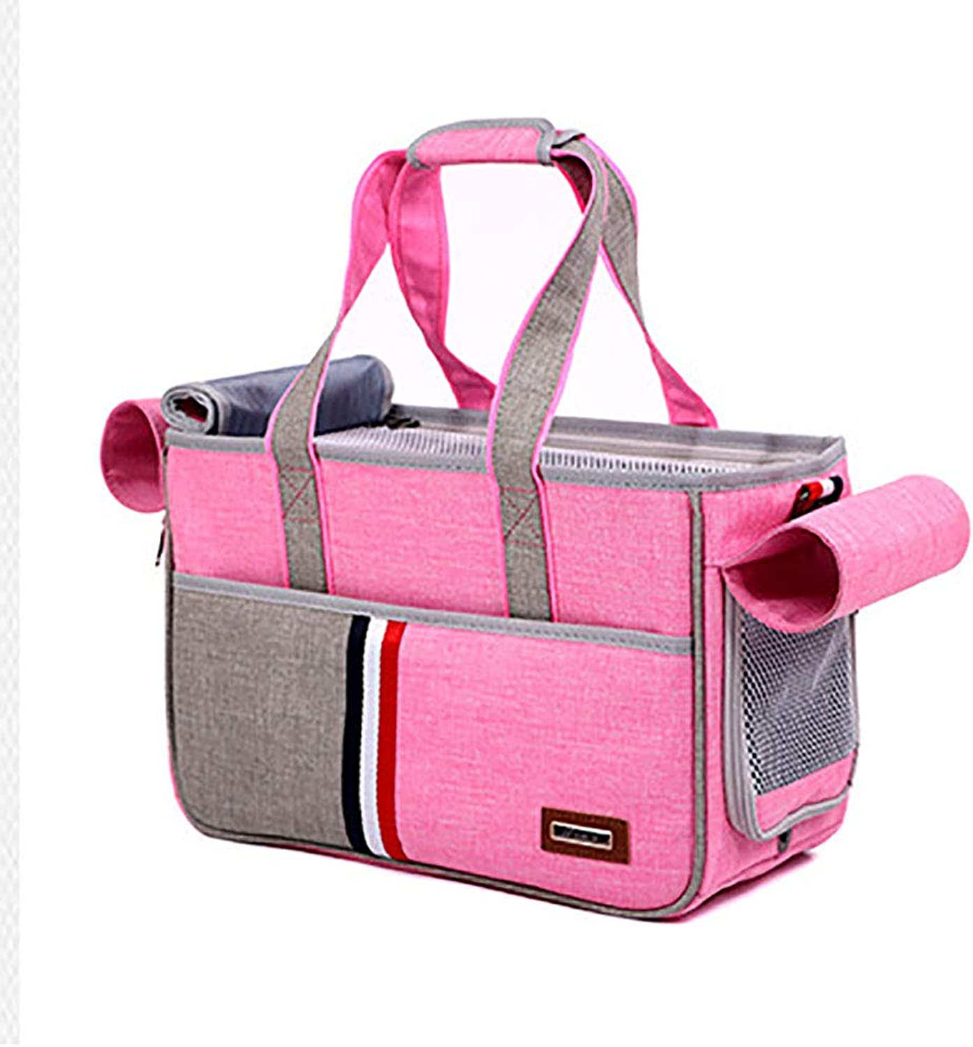 LIULINCUN Fashion Pet Carrier Backpack Cat and Dog Outing Portable Handbag Pet Tote Dog Purse for Travel Walking Hiking,pink,Large 51  20  29cm