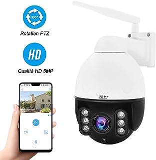 Cámara IP WiFi PTZ de 5MP para Exteriores cámara Domo de Alta Velocidad Mini HD Zoom óptico 4X Vesion Nocturna IR Audio bidireccional IP66 Compatible con Tarjeta SD MAX 128G