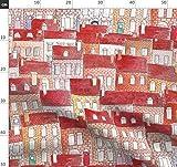 Häuser, Klein, Stadt, Wasserfarben, Rot, Illustrationen