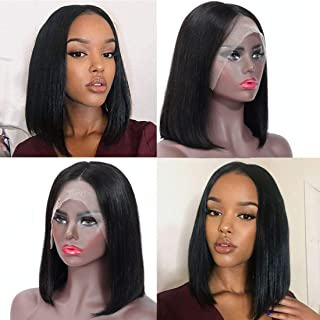 Misoun Hair Brazilian Virgin Remy Human Hair 13x4 Straight Short Bob Wig For Black Women 130% Density Unprocessed Pre Plucked Glueless Nature Color Can Be Dyed and Bleached(10 Inch)