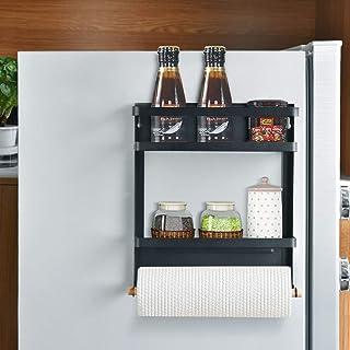 Magnetisk kylskåp kryddhylla organiserare hängande ställning kylskåp kryddförvaring väggmonterad pappershanddukshållare me...