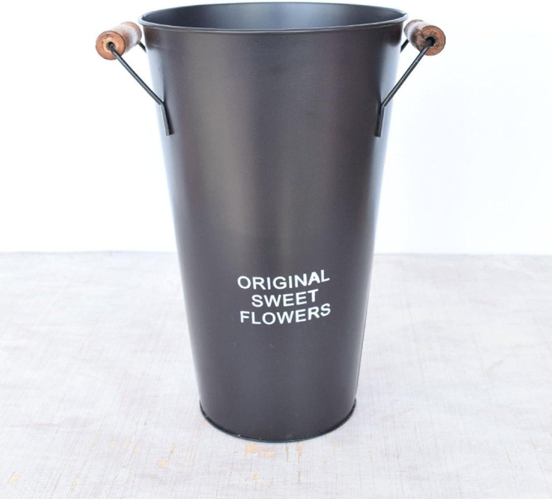 LDFN Iron Umbrella Stand European Pastoral Office Multifunctional Decorative Flower Bucket Storage Bucket,C-19  30cm
