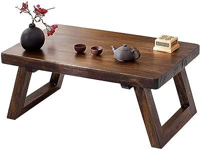 Coffee Table Tatami Modern Wood Table Living Room Table Balcony Bay Window Small Desk Antique Old Elm Tea Table,1,50 * 35 * 25cm