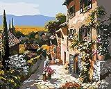 YUHHGFK DIY Pintura por Números Ciudad Tranquila DIY Pintura por números con Pinceles y Pinturas - para Adultos, niños y Principiantes Decoraciones para el Hogar - 40 X 50 cm (con Marco de Madera)