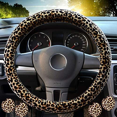 Lenkradabdeckung mit Leopardenmuster für Frauen, Lenkradabdeckungen des Leoparden mit BONUS 4PCS Leopard Car Cups Untersetzer, Leopard Car Zubehör.