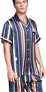 Men's 100% Pure Silk Pyjamas, Button-Down Long Pants Pajamas Set, Loungewear Short Sleeve Set Nightwear Sleepwear for Summ...