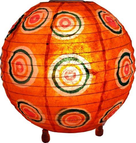 Guru-Shop Corona Round Reispapier Stehlampe Retro 25 cm, Orange, Lokta-Papier, Farbe: Orange, Deckenleuchte Kugelförmig