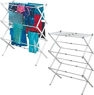 mDesign Tendedero extensible – Colgador de ropa con tres alturas – Tendedero plegable para la lavandería y para salas pequeñas – De metal resistente con barras de plástico – Blanco - Paquete de 2