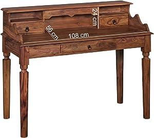 Home Collection24 Bureau Kada Bois Massif Sheesham–Secrétaire 115x 100x 60cm avec 3tiroirs–Table Console de Style Maison de Campagne