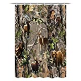 JAWO RV Camping Shower Curtain for Camper Trailer Camping Bathroom, Hunting Deer Bear Elk Turkey Real Tree, Shorter and Narrow Shower Curtain with Hooks Set, 47x64Inches