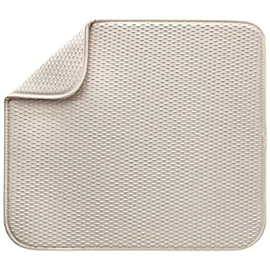 Envision Home Microfiber Dish Drying Mat, 16 by 18-Inch, Cream