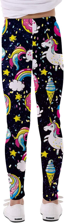 Nimiya Kids Girls Tights Leggings Cartoon Rainbow Horse Trousers Athletic Pants Ankle Length Black 12