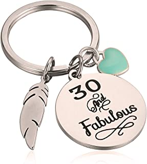 30th Birthday Gift for Her 30 And Fabulous Keychain Gift for Friends Wife Sister Daughter for Thanksgiving Christmas