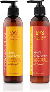 Nourish Beaute Nourish Hair Growth Shampoo & Conditioner - All Natural with DHT Blockers, Biotin - Sulfate-Free, Hair Regrowth & Thickening, Hair Loss Treatment for Men & Women, no Minoxidil or drugs