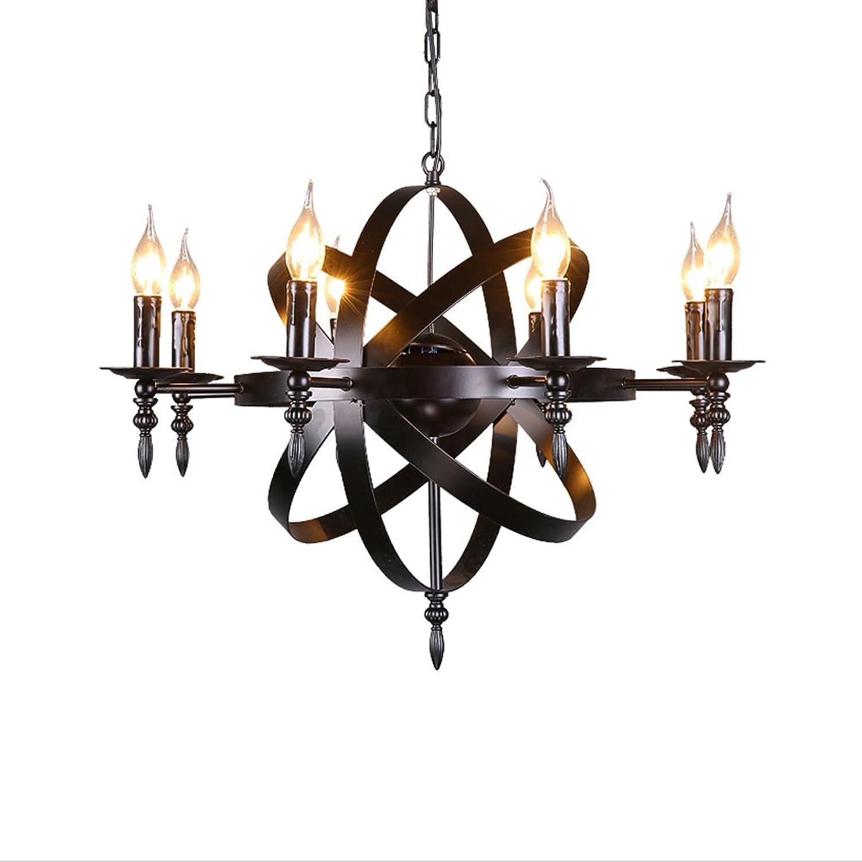 Mittelalterliche Anhnger runde Kerze Kronleuchter Deckenpendelleuchte schwarz Burg Stil Schmiedeeisen massive Gre für ein Wohnzimmer Flur oder Landhaus Kronleuchter, Durchmesser 70cm