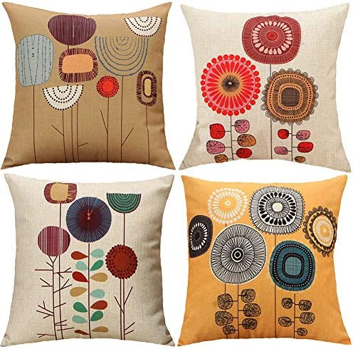 Best TongXi Cartoon Flowers Pattern Soft Cushion Covers Decorative Throw Pillows Case for Sofa 18x18 inch
