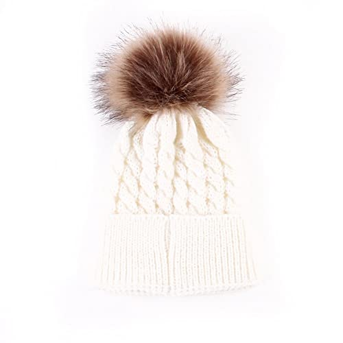 55c95768200 Emmababy Baby Boys Girls Winter Knit Beanie Parent-Child Raccoon Fur Pom Bobble  Hat Family