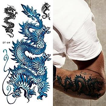 Supperb Temporary Tattoos - Blue Dragon II  Set of 2