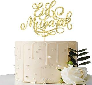 Gold Glitter Eid Mubarak Cake Topper - Ramadan Party Decorations - Muslim Islam Celebration Decoration