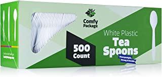 [500 Pack] Extra Heavyweight Disposable White Plastic Tea Spoons