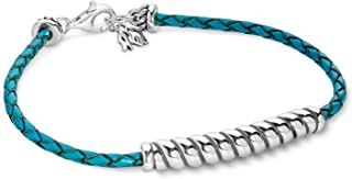 American West Sterling Silver Turquoise Leather Rope Bar Bracelet Size Medium